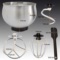 Küchenmaschine Knetmaschine 5,0 Liter 1000 Watt - schwarz