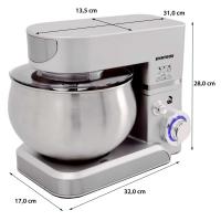 Küchenmaschine Knetmaschine 5,0 Liter 1000 Watt - silber