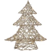 Weihnachtsleuchter Tannenbaum Gold mit 20 warmweißen LEDs