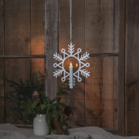 LED-Fensterbild Flamme Snow warmweiß flackernde LED