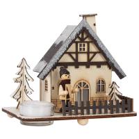 HGD Holz-Glas-Design Räucherhäuschen Winterhaus mit Teelichthalter