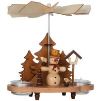 Heinz Handelskontor Weihnachtspyramide Schneemann im Wald mit Vögeln