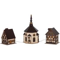 LED-Stadt Fachwerkhäuser mit Kirche