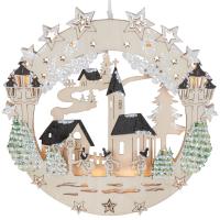 LED-Fensterbild Kirche und Schneemänner