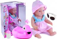 Babypuppe 43cm Puppe Baby mit Flamingo Schwimmring Schnuller Set