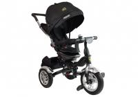 Dreirad PRO600 Schwarz Lenkstange Sonnenschutzdach Stoßdämpfer Kinderdreirad