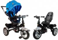 Dreirad PRO600 Blau Lenkstange Sonnenschutzdach Stoßdämpfer Kinderdreirad