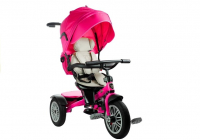 Dreirad PRO800 Rosa Lenkstange Sonnenschutzdach Korb Kinderdreirad