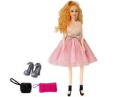 Modell Puppe blond 28 cm, Handtasche, High Heels