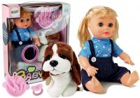 Puppe mit Hund Schnuller Rassel Besteck und Sound