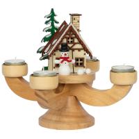 Adventsleuchter Räucherhaus und Teelichthalter Waldhaus mit Schneemann