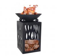 Feuerschale Feuerstelle auf Säule Ø 45cm mit Holzdepot