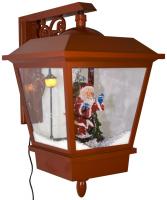 Schneiende LED Wandlaterne 45 cm, rot, mit Weihnachtsmann