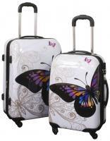 Kofferset 2 tlg. Trolleyset Reisekoffer ABS Hartschale Butterfly