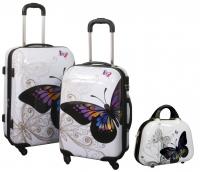 Kofferset 3 tlg. Trolleyset Reisekoffer Hartschale Butterfly mit Beartycase