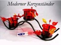 Teelicht Kerzenständer Windlicht, 3 Teelichthalter, ROT