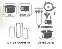 Ubbink MODENA - Drei Granitsäulen - 90l (Ø68xH36cm), 1600l/h, 3x(1x8) Leds weiß - H15/30/45 x 12 x 12 cm