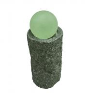 Ubbink LAS PALMAS - Runde graue Granitsäule, Glaskugel - 90l (Ø68xH36cm), 2300l/h, Ring 30 LEDs weiß  - Ø15 cm, H35 x Ø20 cm