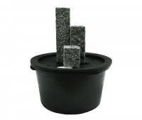 Ubbink SIENA - Drei Granitsäulen - 90l (Ø68xH36cm), 1600l/h, 3x(1x8) Leds weiß - H20/35/50 x 15 x 15 cm