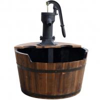 Ubbink NEWCASTLE - Rustikales Holzfass mit Schwengelpumpe und Innenbecken aus Kunststoff - 350l/h - +/-H75 x Ø60 cm