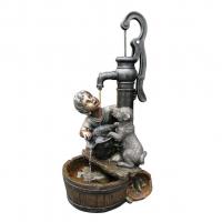 Ubbink REGINA - Polyresin, Rustikale Dekoration Junge und Hund am Brunnen - 350l/h - H77 x 38 x 40 cm