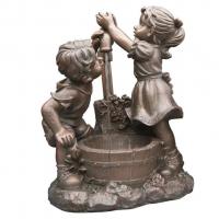 Ubbink MEMPHIS - Polyresin Rustikale Dekoration Kinder am Brunnen - 350l/h - H64 x 47 x 26,5 cm