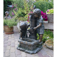 Ubbink ATLANTA - Polyresin Rustikale Dekoration Kinder am Brunnen - 350l/h - H69,5 x 44 x 39,5 cm