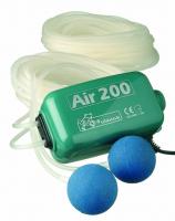 Ubbink AIR 200 - Belüftungspumpe, Durchflussregler : Hi/Low, 2x Luftschlauch 10m, 2x Belüfterstein, Inkl. Ersatzmembran, 5w - 2 x 100 l/h