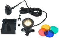 Ubbink AQUALIGHT 30 LED - Unterwasserleuchte, 4 Farbscheiben pro Leuchte, Trafo 230VAC/12V, MR16 30 SMD warmweiß - 220 Lumen, EEK A+, 2,5W
