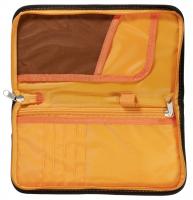 Dokumententasche mit RFID-Block schwarz-orange, Maße 25,5 x 13,5 cm