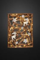 Hellum LED-Holzcollage Sterne und Rentiere batteriebetrieben