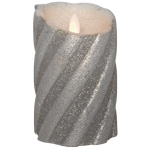 Best Season LED-Echtwachskerze TWINKLE FLAME silber H 130