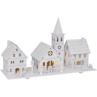 LED-Dorf mit Kirche spielende Kinder, 5 warmweiße LEDs