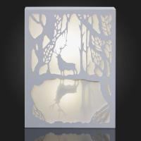 Hellum LED-Bild Rentier am See 10 BS warmweiß/weiß innen