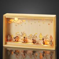 Hellum LED-Stimmungsbild Holzrahmen/Winterszene 10 BS warmweiß/natu