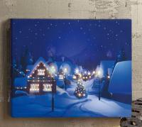 Hellum LED-Fiberoptikbild Dorf im Winter warmweiß innen