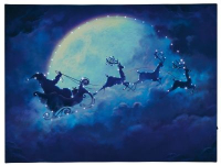 Hellum LED-Fiberoptik-Bild Weihnachtsmann mit Schlitten