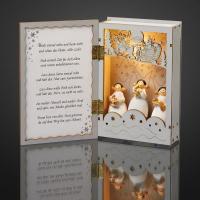 LED-Deko-Holzbuch m. Engeln/Musik, Spieluhr