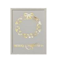 Hellum LED-Bild Holz mit Kranz und Merry Christmas