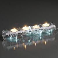 Hellum Glaskerzenhalter m. LED warmweiß/silber innen batteriebetrieben