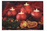 LED-Bild rechteckig 4 runden Kerzen 4 BS warmweiß innen
