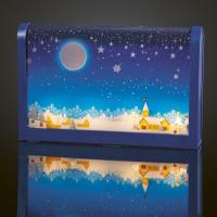 Hellum LED-Bild Tisch weihnachtliches Dorf blau 4 BS warmweiß