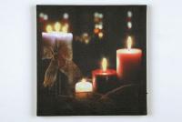LED-Bild quadratisch Kerzen/Schleife 6 BS warmweiß innen