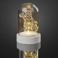 Hellum LED-Glasglocke m. Acryl-Weihnachtsmann ww batteriebetrieben