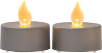 STAR Trading LED-Teelicht 2er Set grau gelb/flackernd innen