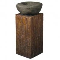 Ubbink NASHVILLE - Polyresin Wasserspiel Stein auf Holzkubus - 350l/h, 1x8 Leds weiß - H51 x 24 x 24 cm