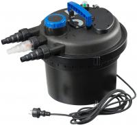 Ubbink BIOPRESSURE II 3000 PlusSet - Druckfilter - UV-C 5W, Xtra 1600, Expressreinigungsfunktion, Filtermatten : blau (10 ppi, H3,7 x 24,5 x 24,5 cm), 2x; gelb (30 ppi, H3,7 x 20 x 20 cm), 2x