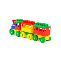 Baustein Eisenbahn mit zwei Waggons