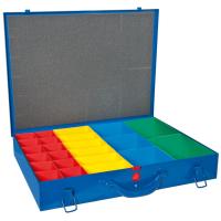 Hühnersdorff Metall-Kleinteile-Koffer 23 Einsatzboxen 330x440x66 mm, dunkelblau