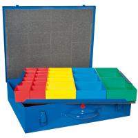 Hühnersdorff Metall-Kleinteile-Koffer 59 Einsatzboxen 330x440x100 mm, dunkelblau